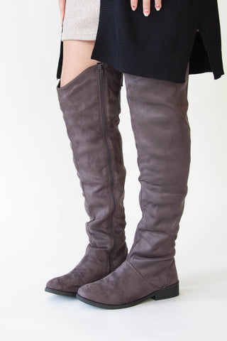 Gray Over-The-Knee Boots