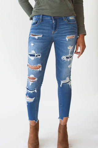 Patched Cropped Skinny Jeans - Eliza Ash Boutique