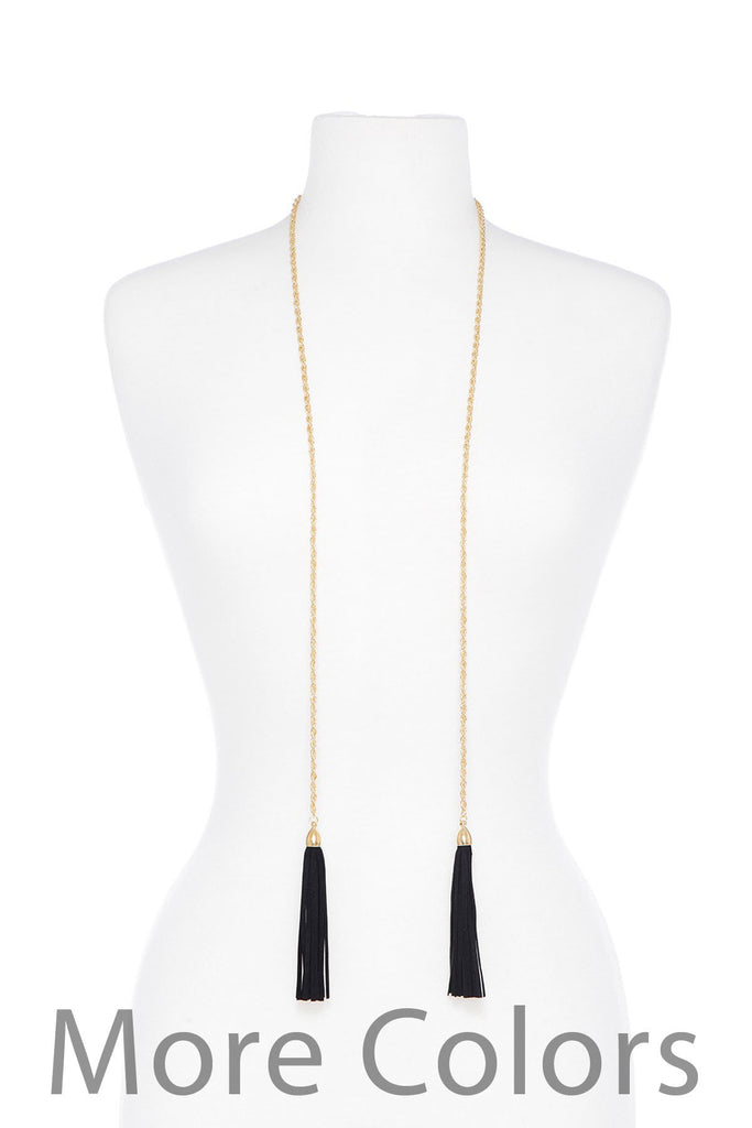 Black Leather Tassel Rope Necklace