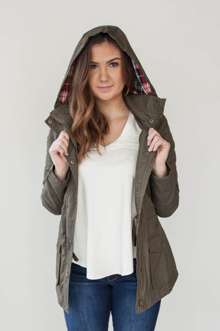 Padded Anorak Jacket with Plaid Trim