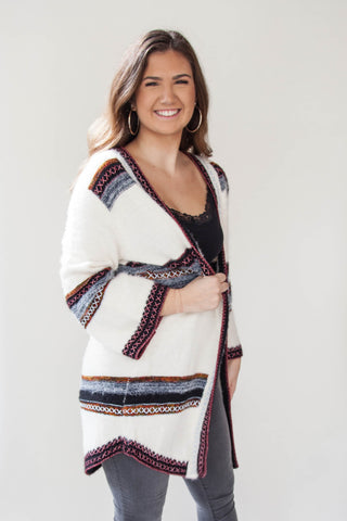 Fuzzy Open Front Tribal Cardigan - Eliza Ash Boutique
