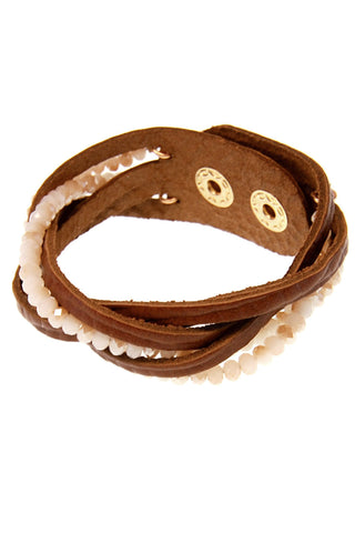 Leather and Bead Strand Cuff - Eliza Ash Boutique