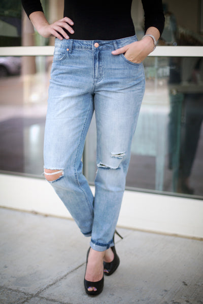 Distressed Boyfriend Jeans - Eliza Ash Boutique