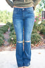 Distressed Flare Bottom Jeans