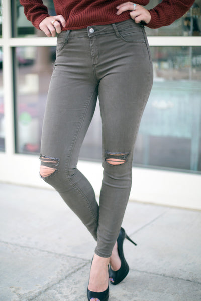Distressed Olive Skinny Jeans - Eliza Ash Boutique