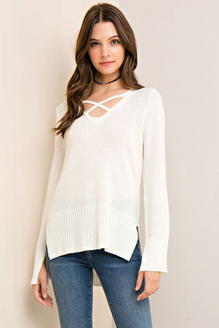 Ivory Rib Knit Top - Eliza Ash Boutique