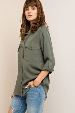 Olive Button Up Top - Eliza Ash Boutique