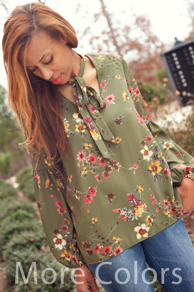 Front Tie with Bamboo Sleeve Floral Top - Eliza Ash Boutique