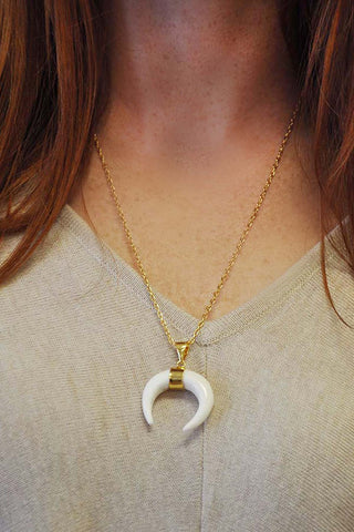 Raven Ivory Horn Necklace - Eliza Ash Boutique