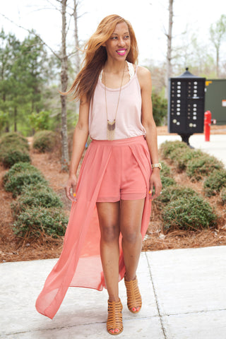 Shorts With Sheer Overlay - Eliza Ash Boutique