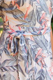 Tropical Open Shoulder Wrap Dress