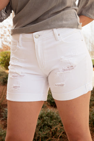 Distressed White Jean Shorts - Eliza Ash Boutique