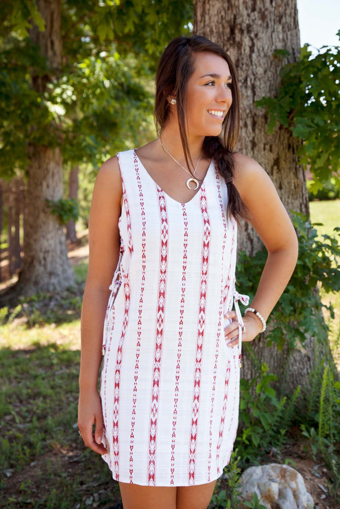 Red Printed Dress With Lace Up Sides