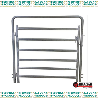 Bent Top Standard Cattle Gate in Frame (Brazzen)