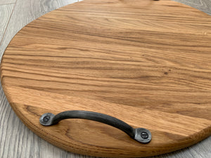 Handmade Oak Round Double Handled Serving/Charcuterie Board