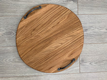 Load image into Gallery viewer, Handmade Oak Round Double Handled Serving/Charcuterie Board