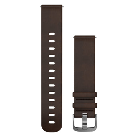 Garmin Quick Release Band 20mm - Dark Brown Leather (L)