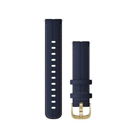 Garmin Quick Release Band, Blue Leather, Light Gold Buckle (18mm)