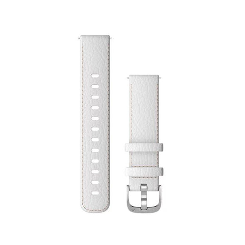 Garmin Quick Release Band, White Leather, Silver Buckle (18mm)