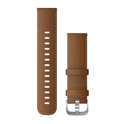 Garmin Quick Release Band 22mm, Brown-Leather with Silver Buckle