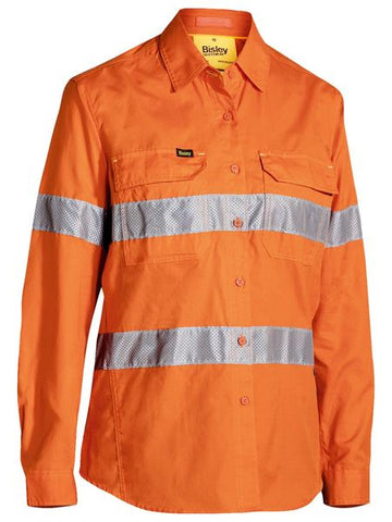 BL6416T BISLEY LADIES 3M TAPED HI VIS X AIRFLOW RIPSTOP SHIRT - ON THE GO SAFETY & WORKWEAR
