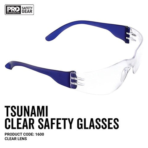 1600 PRO CHOICE TSUNAMI SAFETY GLASSES CLEAR - ON THE GO SAFETY & WORKWEAR
