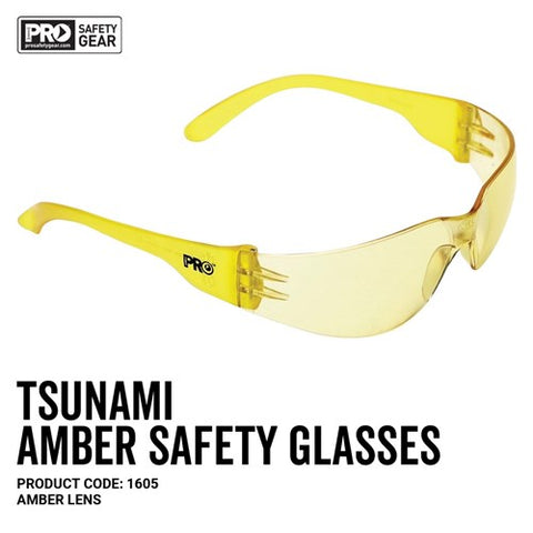 1605 PRO CHOICE TSUNAMI SAFETY GLASSES AMBER - ON THE GO SAFETY & WORKWEAR