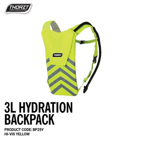 BP25Y THORZT HYDRATION BACKPACK 3 LITRE - HI-VIS YELLOW - ON THE GO SAFETY & WORKWEAR