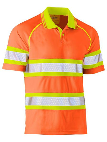 BK1223T BISLEY TAPE DOUBLE HI VIS MESH POLO SHIRT - SHORT SLEEVE - ON THE GO SAFETY & WORKWEAR