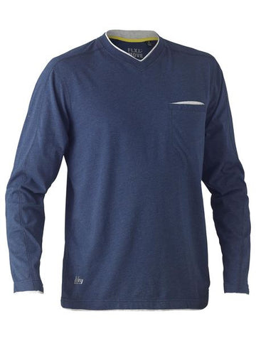 BK6933 BISLEY FLEX & MOVE COTTON RICH V NECK LONG SLEEVE TEE