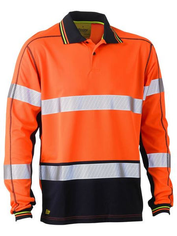 BK6219T BISLEY TAPED TWO TONE HI VIS POLYESTER MESH LONG SLEEVE POLO SHIRT - ON THE GO SAFETY & WORKWEAR