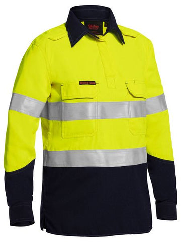 BLC8075T BISLEY LADIES TENCATE TECASAFE PLUS TAPED TWO TONE HI VIS FR CLOSED FRONT SHIRT WITH CONCEALED FRONT PLACKET - LONG SLEEVE - ON THE GO SAFETY & WORKWEAR
