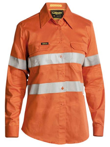 BL6445T BISLEY LADIES 3M TAPED HI VIS INDUSTRIAL COOL VENT SHIRT - LONG SLEEVE - ON THE GO SAFETY & WORKWEAR