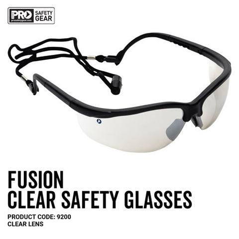 9200 PRO CHOICE FUSION SAFETY GLASSES - CLEAR - ON THE GO SAFETY & WORKWEAR