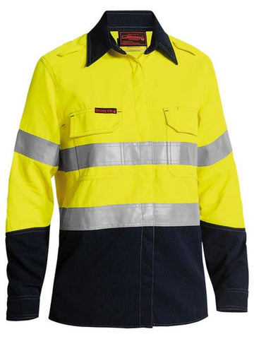 BL8098T BISLEY LADIES TENCATE TECASAFE PLUS 580 TAPED TWO TONE HI VIS LIGHTWEIGHT FR VENTED SHIRT - LONG SLEEVE - ON THE GO SAFETY & WORKWEAR