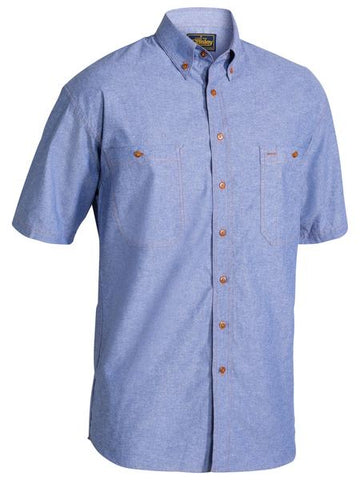 B71407 BISLEY CHAMBRAY SHIRT - SHORT SLEEVE - ON THE GO SAFETY & WORKWEAR