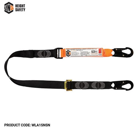 WLA1SNSN LINQ Elite Single Leg Shock Absorbing 2M Adjustable Lanyard with Hardware SN X2 - ON THE GO SAFETY & WORKWEAR