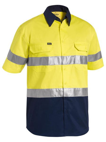 BISLEY 3M Taped Two Tone Hi Vis Cool Lightweight Shirt - Short Sleeve BS1896