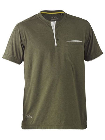 BK1932 BISLEY FLEX & MOVE COTTON RICH HENLEY SHORT SLEEVE TEE