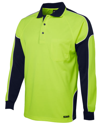 6AP4L JB'S HI-VIS LONG SLEEVE POLO SHIRT - ON THE GO SAFETY & WORKWEAR