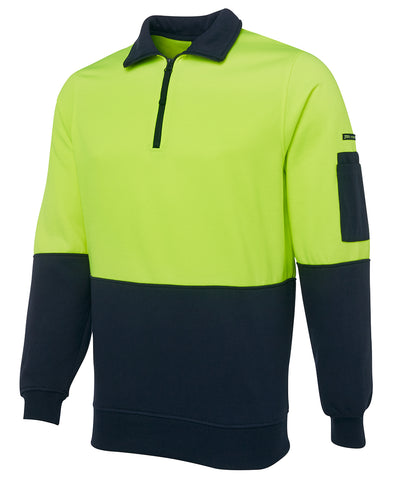 6HVFH JB'S HI VIS ½ ZIP FLEECY - ON THE GO SAFETY & WORKWEAR