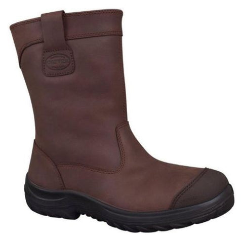 34692 OLIVER Steel Toe Safety Work Boots Pull On Riggers - BROWN - ON THE GO SAFETY & WORKWEAR