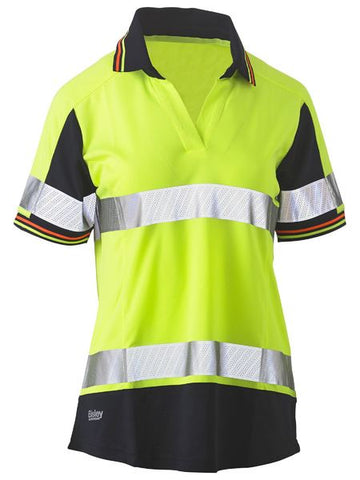 BISLEY Ladies Short Sleeve Taped Two Tone Hi Vis V-Neck Polo BKL1225T