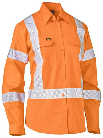 BISLEY Ladies Taped X Back Lightweight Hi Vis Drill Rail Shirt BL6166XT