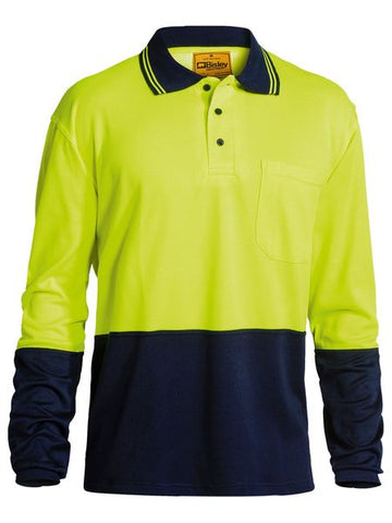 BK6234 BISLEY 2 TONE HI VIS POLO SHIRT - LONG SLEEVE - ON THE GO SAFETY & WORKWEAR