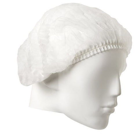 Pro Choice Disposable Crimped Beret White 24 inch PP - 100 PACK DCRI24W