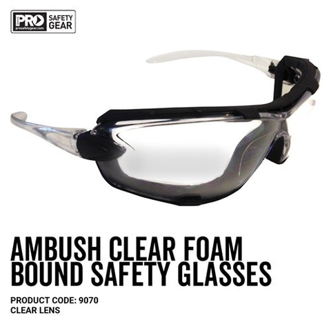 9070 PROCHOICE AMBUSH FOAM PADDED CLEAR SAFETY GLASSES - ON THE GO SAFETY & WORKWEAR