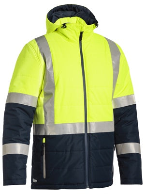 BJ6929HT BISLEY TAPED TWO TONE HI VIS PUFFER JACKET - ON THE GO SAFETY & WORKWEAR