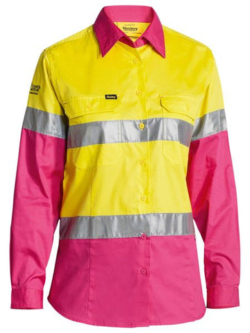BL6696T BISLEY LADIES 3M TAPED HI VIS COOL LIGHTWEIGHT SHIRT - LONG SLEEVE - ON THE GO SAFETY & WORKWEAR