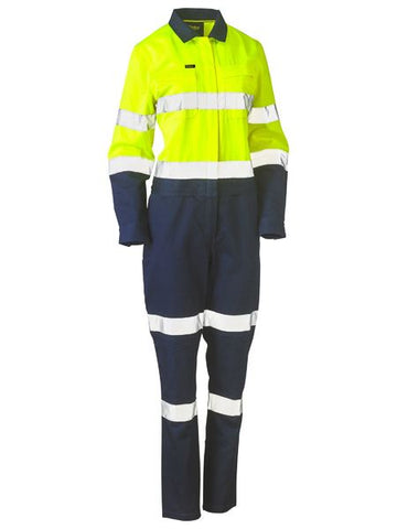 BISLEY Ladies Taped Hi Vis Cotton Drill Coverall BCL6066T